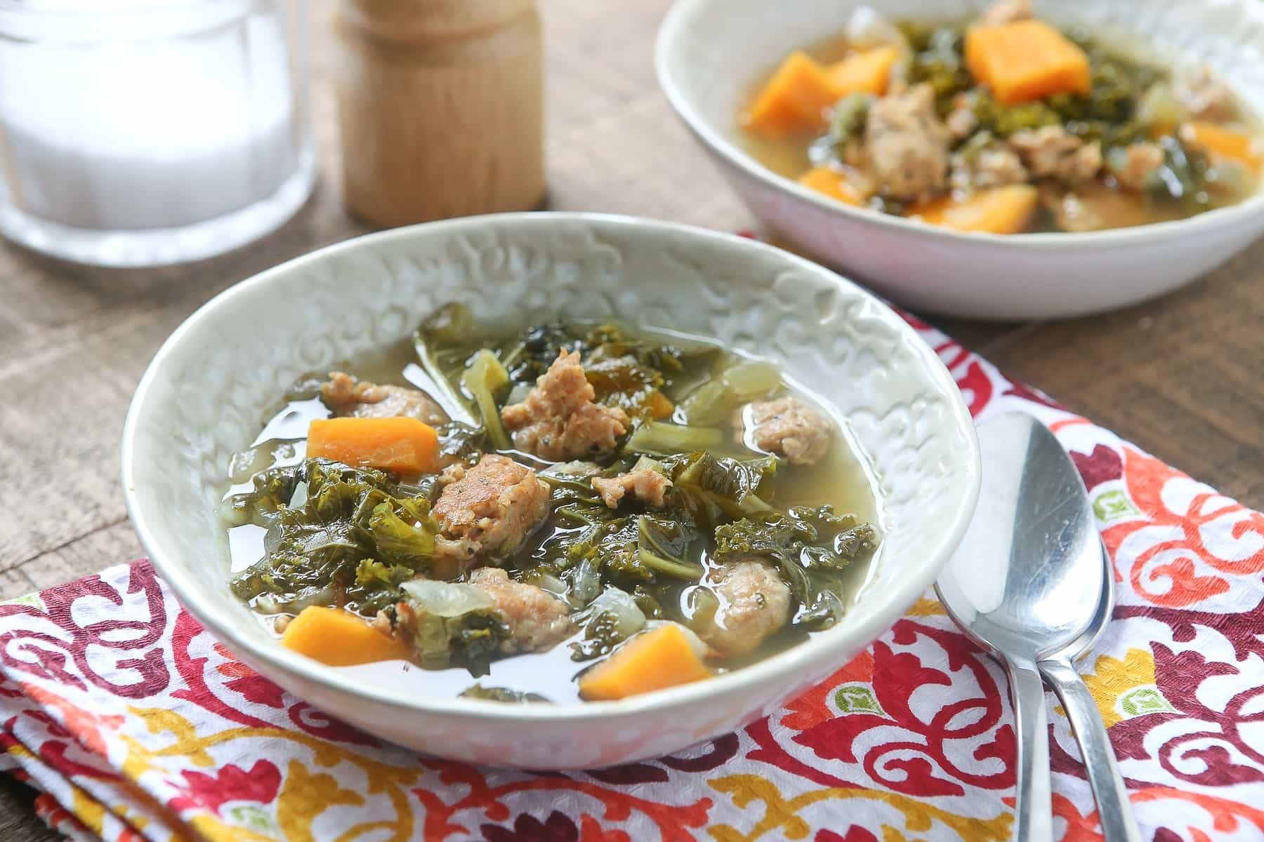 Slow Cooker Italian Sausage & Kale Soup with Sweet Potatoes