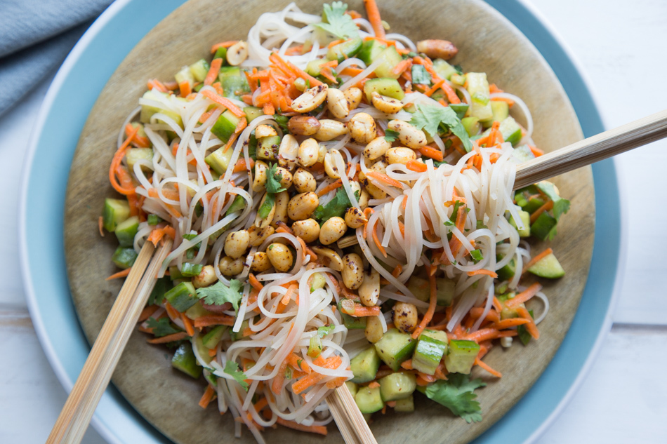 Easy Asian Noodle Salad with Chili Toasted Peanuts | Fake Food Free