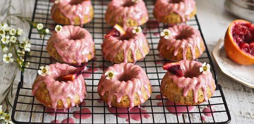 Blood orange poppyseed baby bundt cakes
