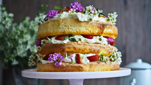 Triple layer strawberry chamomile tea cake