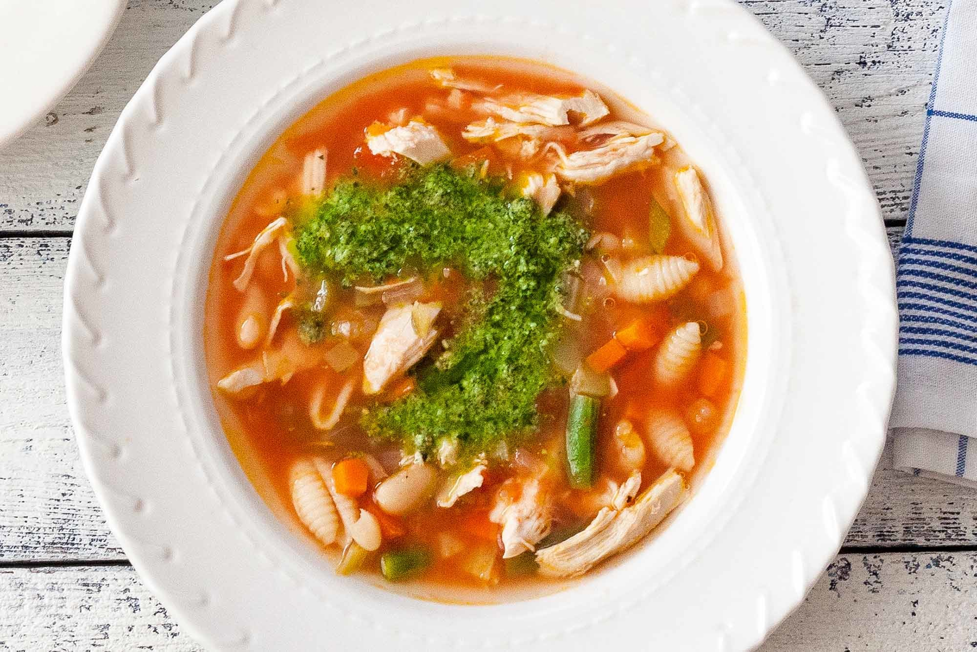 Chicken Minestrone with Basil Pesto Recipe | SimplyRecipes.com