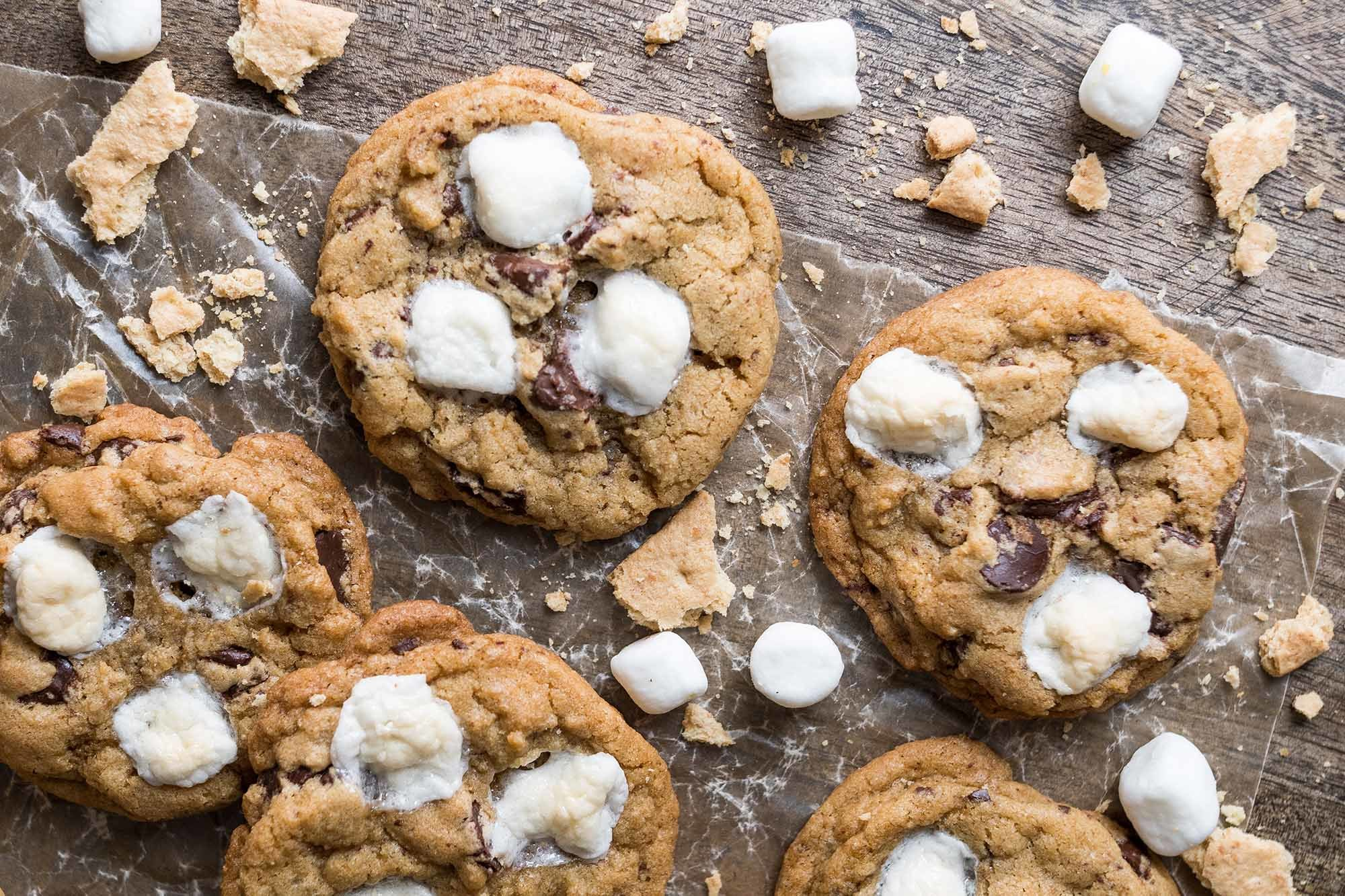 Chocolate Chip and Marshmallow S'mores Cookies | SimplyRecipes.com