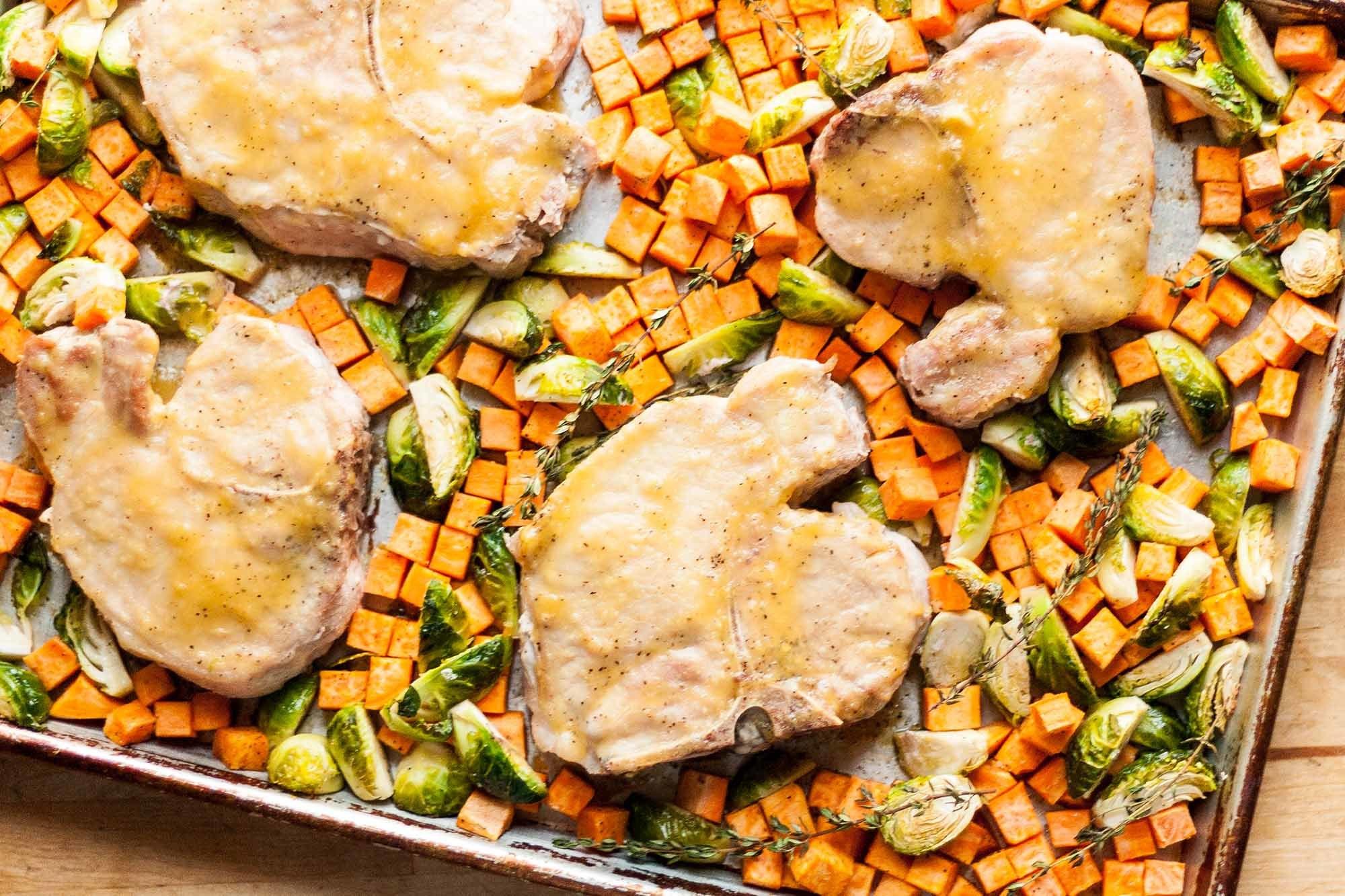 Honey-Mustard Sheet Pan Pork Chops Recipe | SimplyRecipes.com