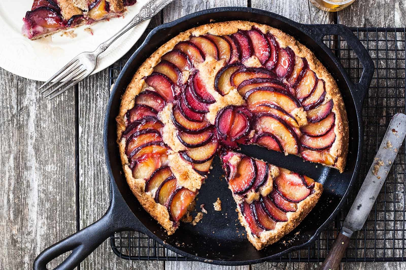 Plum Walnut Skillet Cake Recipe | SimplyRecipes.com