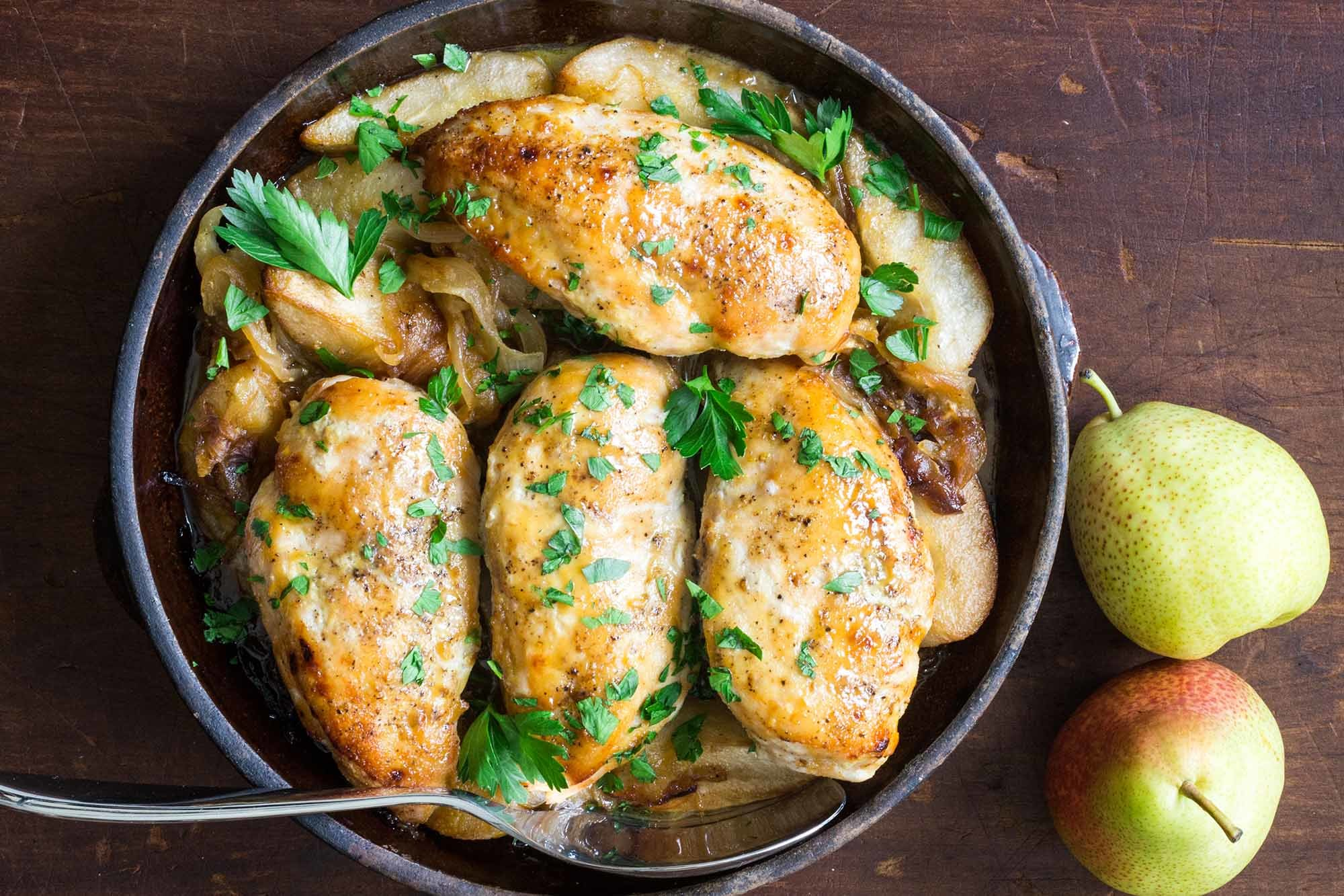 Maple-Glazed Chicken with Caramelized Onions and Pears Recipe | SimplyRecipes.com