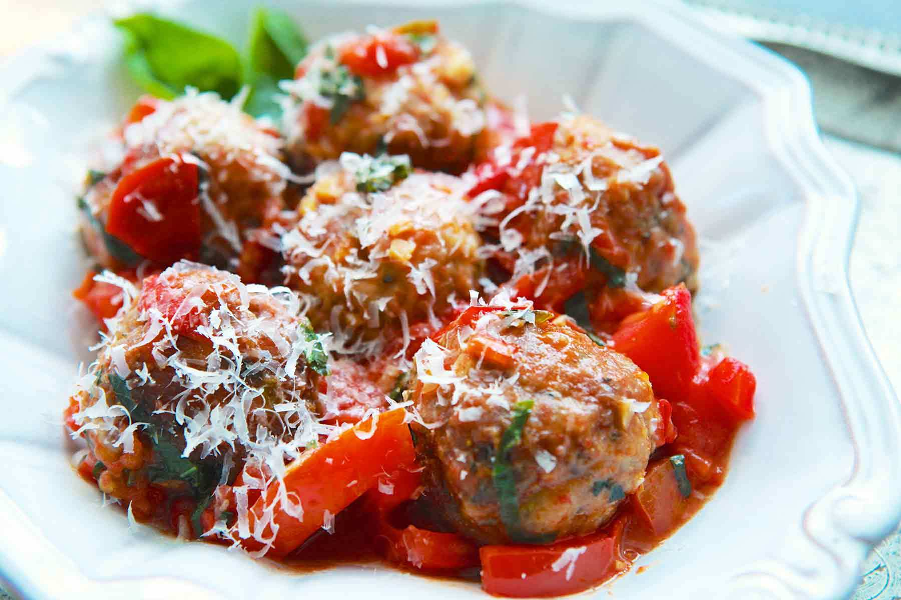 Turkey Meatballs with Tomatoes and Basil Recipe | SimplyRecipes.com