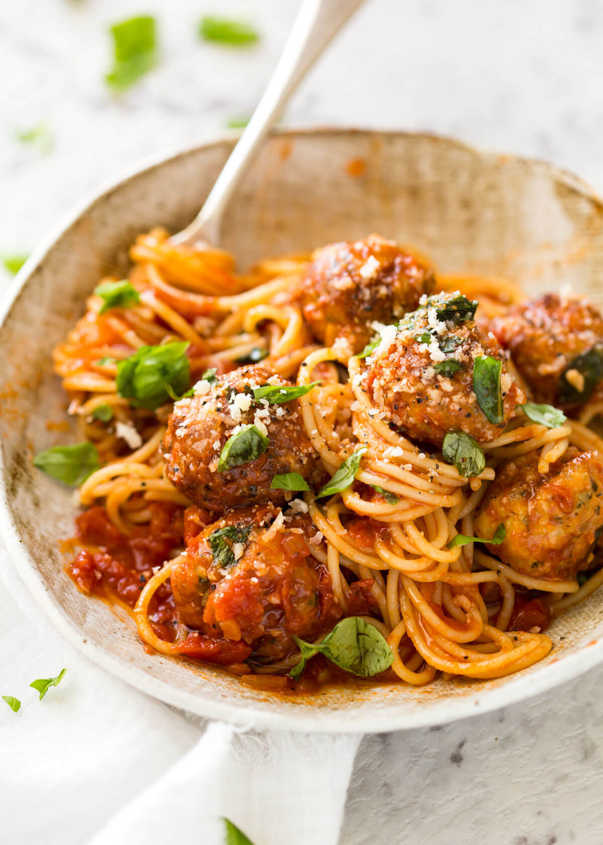 Baked Chicken Meatballs and Spaghetti | RecipeTin Eats