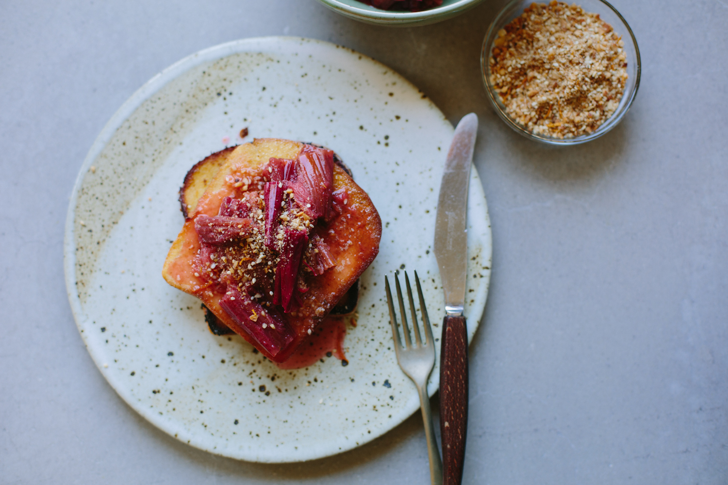 Coconut French toast with roasted rhubarb + hazelnut and orange dukkah (gluten + dairy-free) + a giveaway!