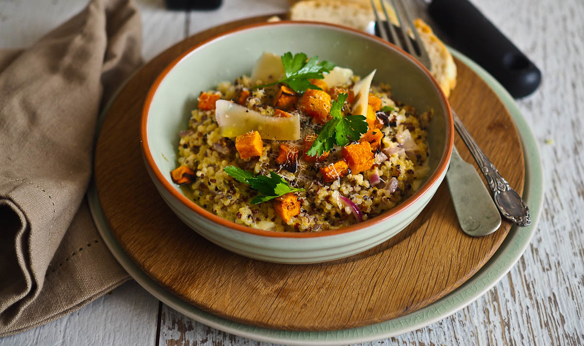Cheesy Quinoa Risotto with Roasted Pumpkin