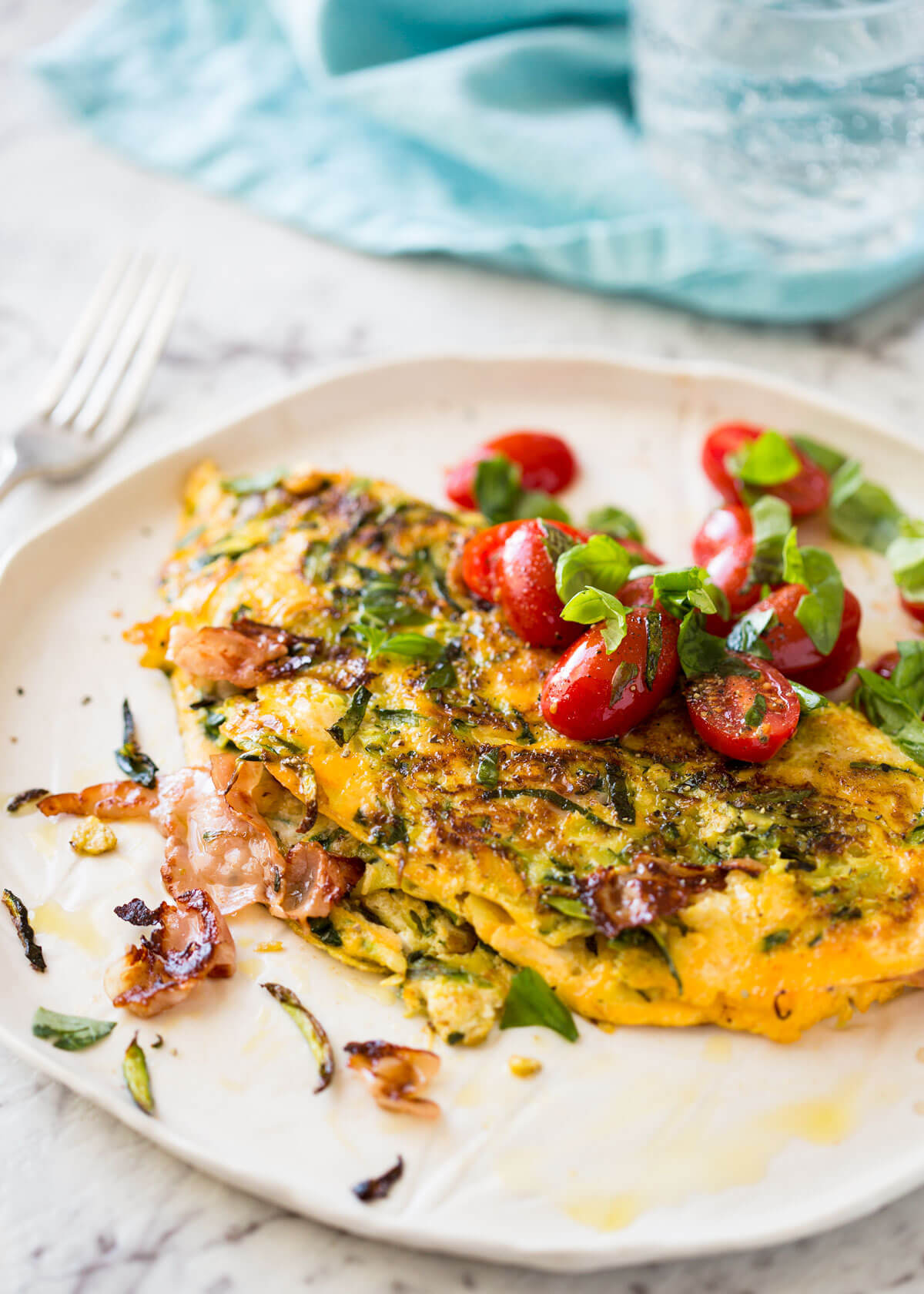 Ultra Lazy Zucchini Ham Cheese Omelette | RecipeTin Eats