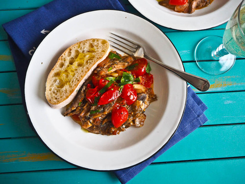 Sunshine and sardines with tomato chilli garlic