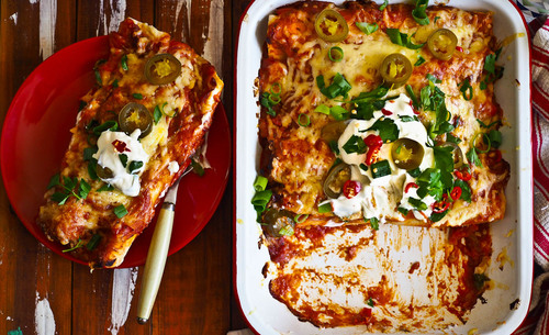 Fiesta fun baked roast chicken pork enchiladas
