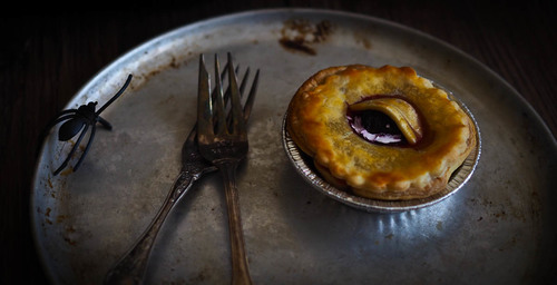 Friday the 13th creepy rhubarb eye pies