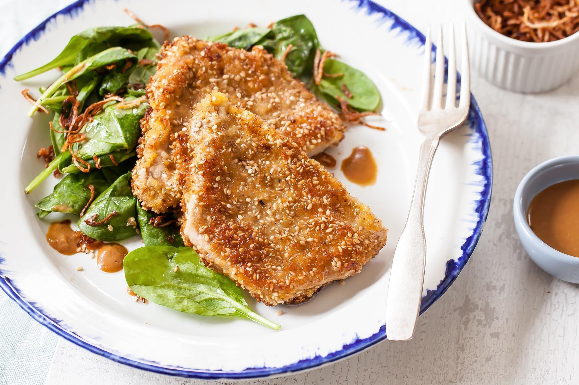 Sesame-Crusted Pork Cutlets with Crispy Shallots Recipe | SimplyRecipes.com