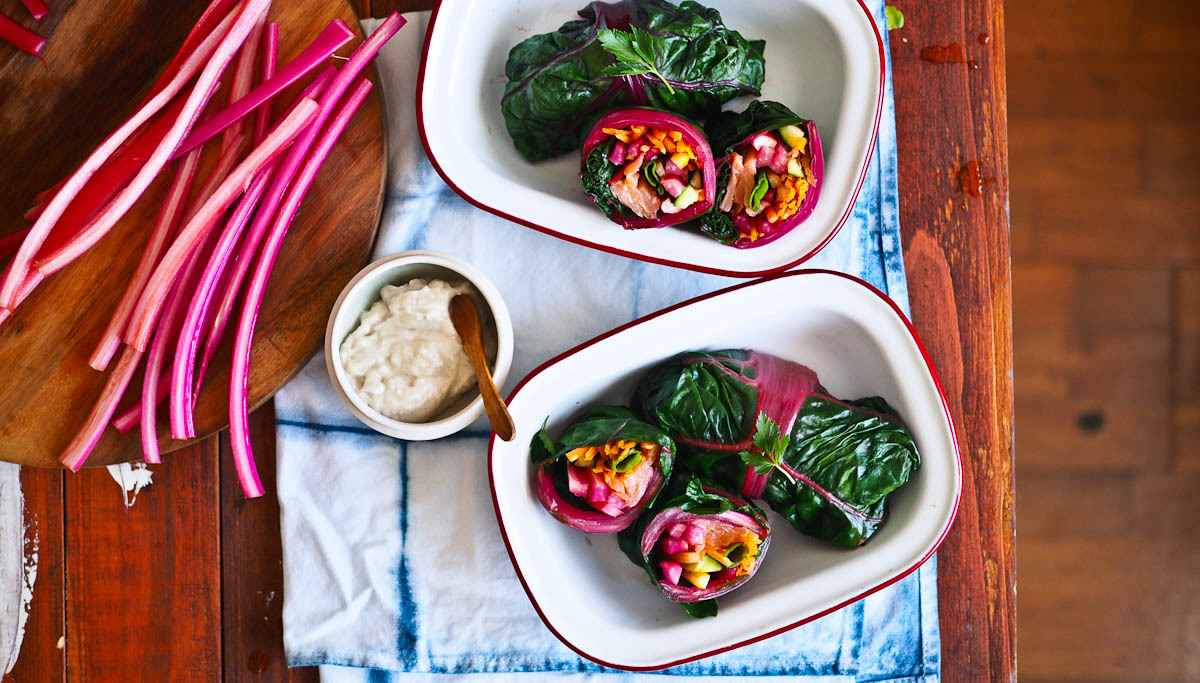 Unicorn Food: Rainbow Chard Salmon Wraps